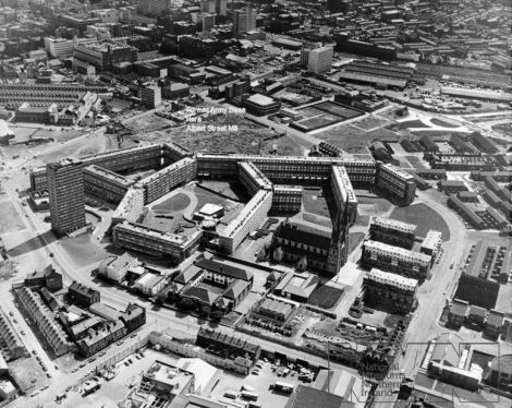 A British military photo of the Divis Flats complex circa 1972/73 – All that remains today is the tower block on the centre left